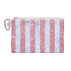 Stripes1 White Marble & Pink Glitter Canvas Cosmetic Bag (large) by trendistuff
