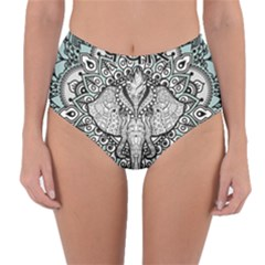 Ornate Hindu Elephant  Reversible High Waist Bikini Bottoms