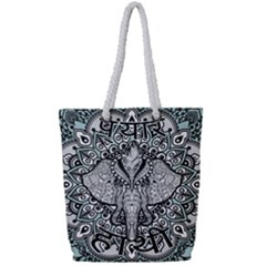 Ornate Hindu Elephant  Full Print Rope Handle Tote (small)