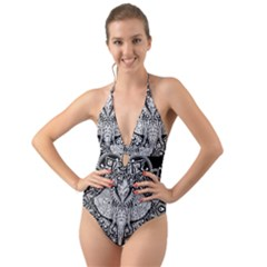 Ornate Hindu Elephant  Halter Cut Out One Piece Swimsuit