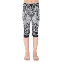Ornate Hindu Elephant  Kids  Capri Leggings