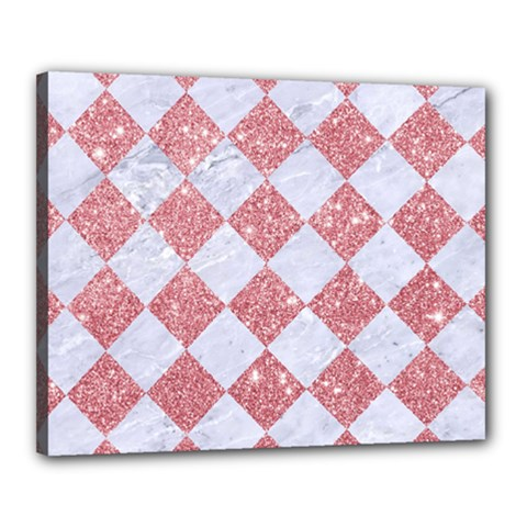 Square2 White Marble & Pink Glitter Canvas 20  X 16  by trendistuff