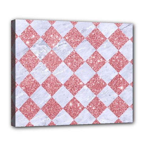 Square2 White Marble & Pink Glitter Deluxe Canvas 24  X 20   by trendistuff