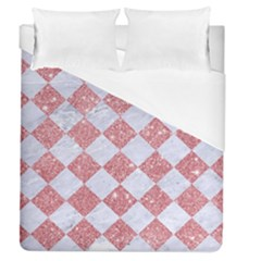 Square2 White Marble & Pink Glitter Duvet Cover (queen Size) by trendistuff