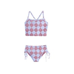 Square2 White Marble & Pink Glitter Girls  Tankini Swimsuit