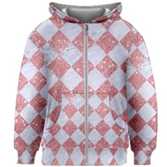 Square2 White Marble & Pink Glitter Kids Zipper Hoodie Without Drawstring