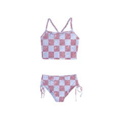 Square1 White Marble & Pink Glitter Girls  Tankini Swimsuit by trendistuff