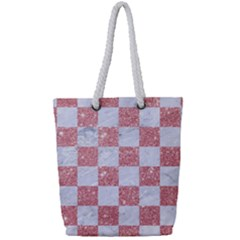 Square1 White Marble & Pink Glitter Full Print Rope Handle Tote (small)