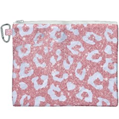 Skin5 White Marble & Pink Glitter (r) Canvas Cosmetic Bag (xxxl) by trendistuff