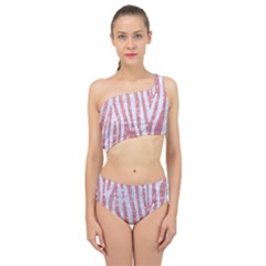 Skin4 White Marble & Pink Glitter (r) Spliced Up Two Piece Swimsuit