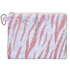 Skin3 White Marble & Pink Glitter (r) Canvas Cosmetic Bag (xxl) by trendistuff