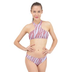 Skin3 White Marble & Pink Glitter High Neck Bikini Set