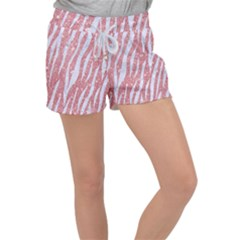 Skin3 White Marble & Pink Glitter Women s Velour Lounge Shorts