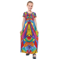 Arcturian Insight Grid   Kids  Short Sleeve Maxi Dress