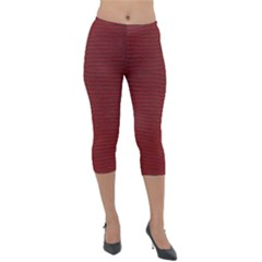 Red Lizard Leather Print Lightweight Velour Capri Leggings