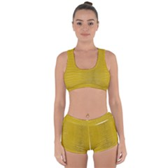 Yellow Alligator Skin Racerback Boyleg Bikini Set