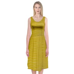 Yellow Alligator Skin Midi Sleeveless Dress by LoolyElzayat