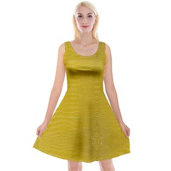 Yellow Alligator Skin Reversible Velvet Sleeveless Dress by LoolyElzayat