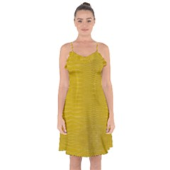 Yellow Alligator Skin Ruffle Detail Chiffon Dress