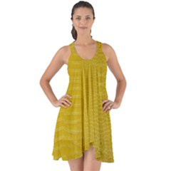 Yellow Alligator Skin Show Some Back Chiffon Dress by LoolyElzayat