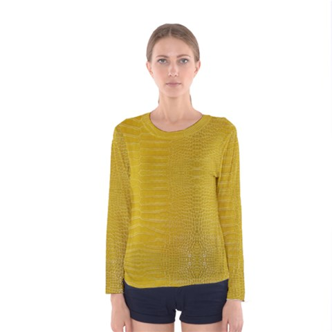 Yellow Alligator Skin Women s Long Sleeve Tee by LoolyElzayat