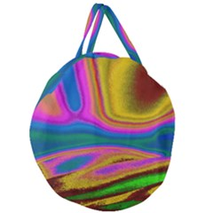 Colorful Waves Giant Round Zipper Tote