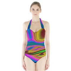 Colorful Waves Halter Swimsuit by LoolyElzayat