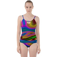 Colorful Waves Cut Out Top Tankini Set