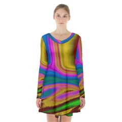 Colorful Waves Long Sleeve Velvet V-neck Dress by LoolyElzayat