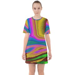 Colorful Waves Sixties Short Sleeve Mini Dress