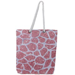 Skin1 White Marble & Pink Glitter (r) Full Print Rope Handle Tote (large) by trendistuff