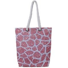 Skin1 White Marble & Pink Glitter (r) Full Print Rope Handle Tote (small) by trendistuff