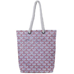 Scales3 White Marble & Pink Glitter (r) Full Print Rope Handle Tote (small) by trendistuff