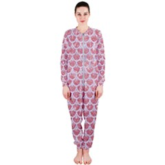 Scales3 White Marble & Pink Glitter Onepiece Jumpsuit (ladies)  by trendistuff