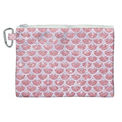 Scales3 White Marble & Pink Glitter Canvas Cosmetic Bag (xl) by trendistuff