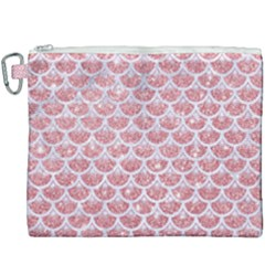 Scales3 White Marble & Pink Glitter Canvas Cosmetic Bag (xxxl) by trendistuff