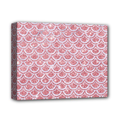 Scales2 White Marble & Pink Glitter Deluxe Canvas 14  X 11  by trendistuff