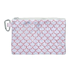 Scales1 White Marble & Pink Glitter (r) Canvas Cosmetic Bag (large) by trendistuff