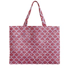 Scales1 White Marble & Pink Glitter Zipper Mini Tote Bag by trendistuff