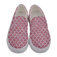Scales1 White Marble & Pink Glitter Women s Canvas Slip Ons