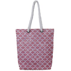 Scales1 White Marble & Pink Glitter Full Print Rope Handle Tote (small) by trendistuff
