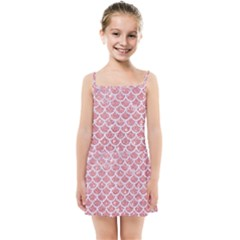 Scales1 White Marble & Pink Glitter Kids Summer Sun Dress