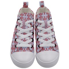 Puzzle1 White Marble & Pink Glitter Kid s Mid Top Canvas Sneakers