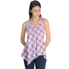 Houndstooth2 White Marble & Pink Glitter Sleeveless Tunic