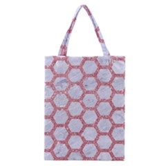 Hexagon2 White Marble & Pink Glitter (r) Classic Tote Bag by trendistuff