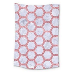 Hexagon2 White Marble & Pink Glitter (r) Large Tapestry by trendistuff