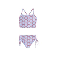 Hexagon2 White Marble & Pink Glitter (r) Girls  Tankini Swimsuit by trendistuff
