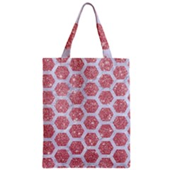 Hexagon2 White Marble & Pink Glitter Zipper Classic Tote Bag by trendistuff