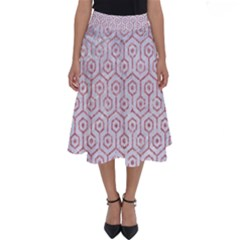 Hexagon1 White Marble & Pink Glitter (r) Perfect Length Midi Skirt