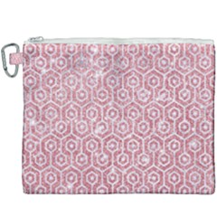 Hexagon1 White Marble & Pink Glitter Canvas Cosmetic Bag (xxxl)